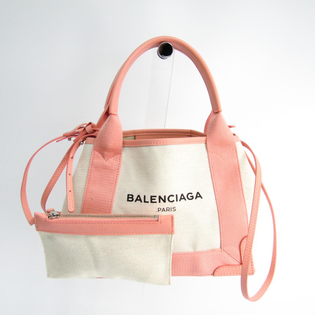 バレンシアガ(Balenciaga) ネイビーカバスXS 390346 レディース キャンバス,レザー バッグ アイボリー,ライトピンク 【中古】