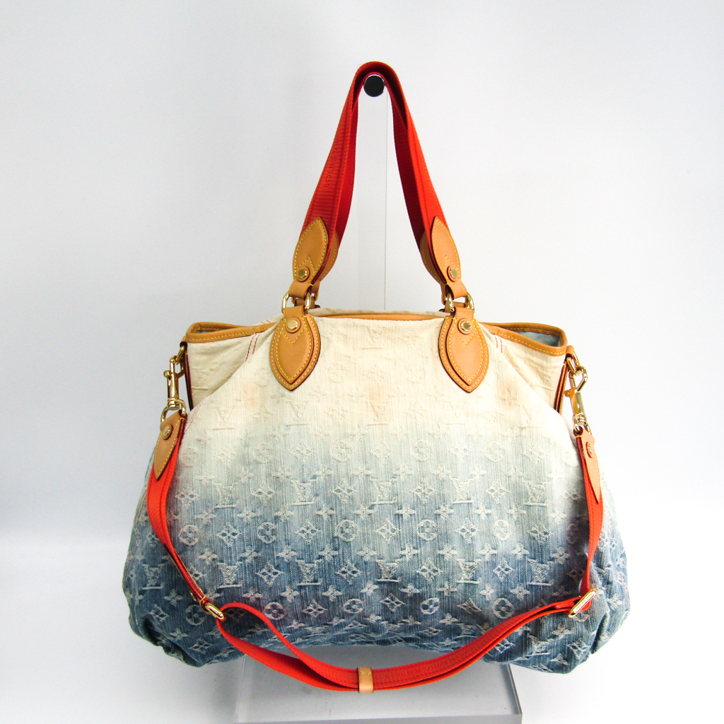 49fc2c9dc74 Louis Vuitton (Louis Vuitton) monogram denim sunlight M40411 Lady's tote  bag blue, off-white, orange
