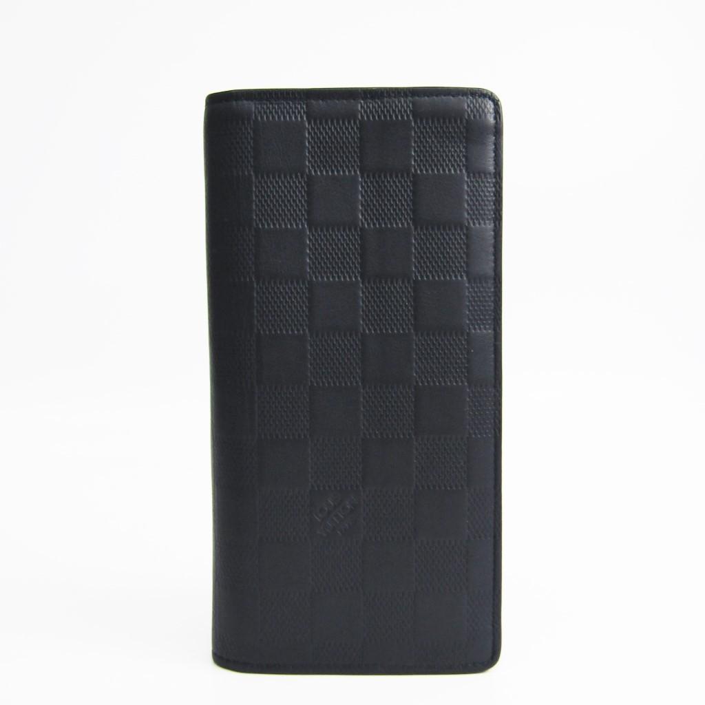 ルイ・ヴィトン(Louis Vuitton) ダミエアンフィニ ポルトフォイユ・ブラザ N63119 メンズ ダミエアンフィニ 長財布(二つ折り) ネイビー 【中古】