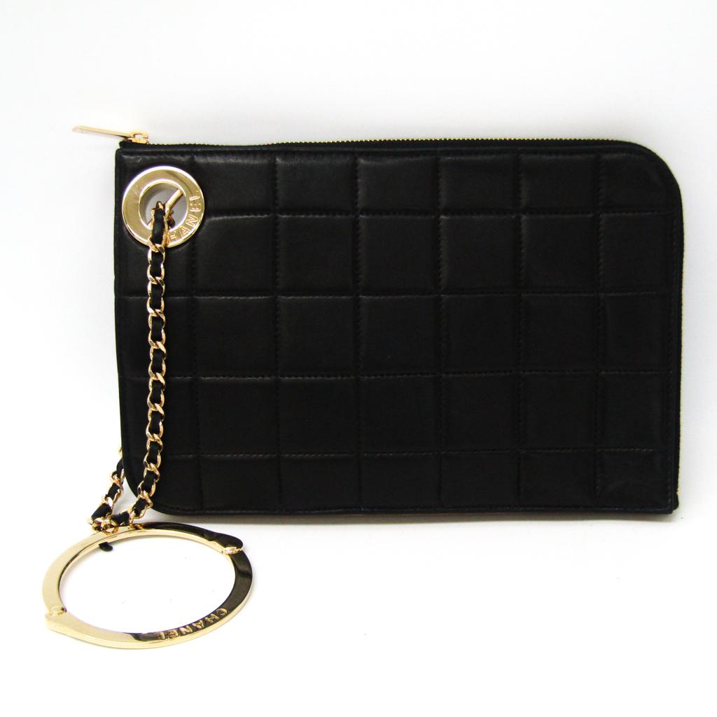 シャネル(Chanel) チョコバー レディース レザー クラッチバッグ ブラック,カーキ 【中古】