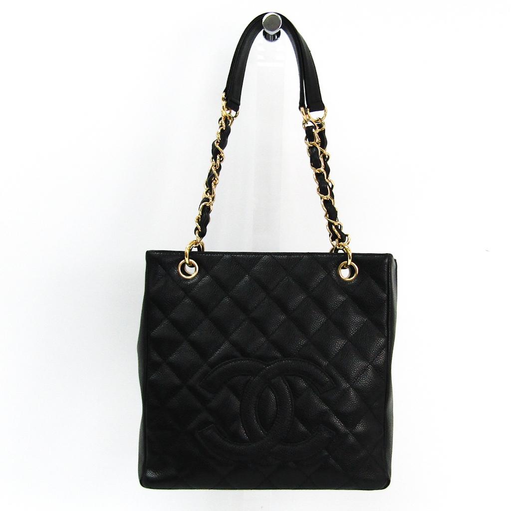 シャネル(Chanel) キャビア・スキン プチ ショッピング トート PST A20994 レディース レザー トートバッグ ブラック 【中古】