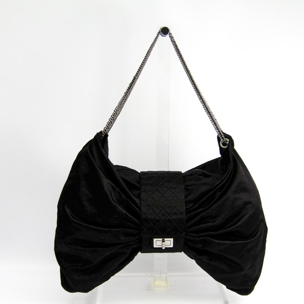シャネル(Chanel) 2.55 リボン レディース サテン ショルダーバッグ ブラック 【中古】