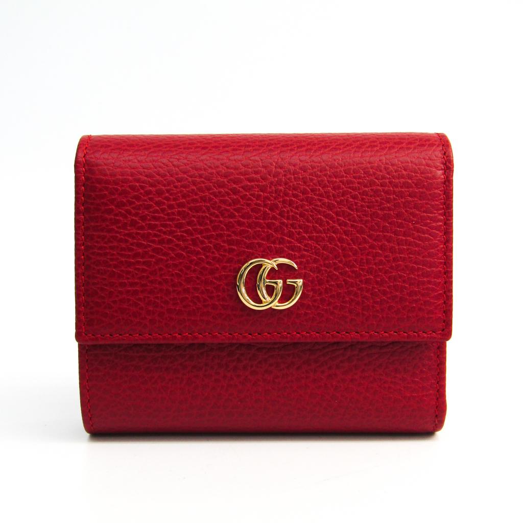 2372833407a1 レザー 財布(二つ折り) レッド 【中古】 グッチ(Gucci) 本物 GGマーモント 546584 レディース タグホイヤー 100%品質保証
