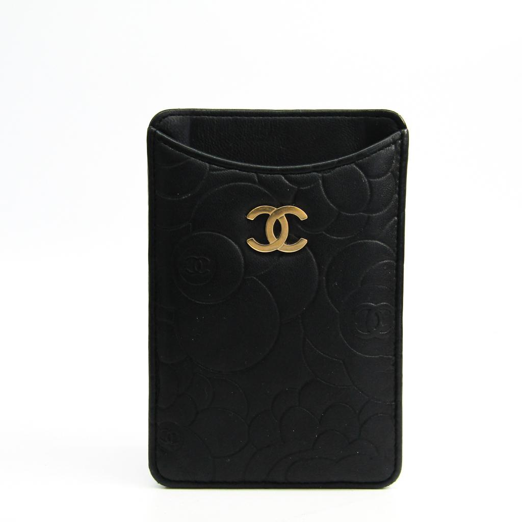 シャネル(Chanel) カメリア レザー ポーチ/スリーブ iPhone 4 対応 ブラック 【中古】