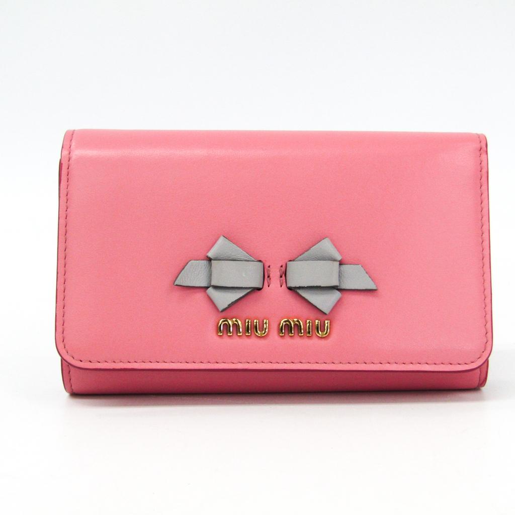ミュウ・ミュウ(Miu Miu) 5MH015 レディース カーフスキン 財布(三つ折り) グレー,ピンク 【中古】