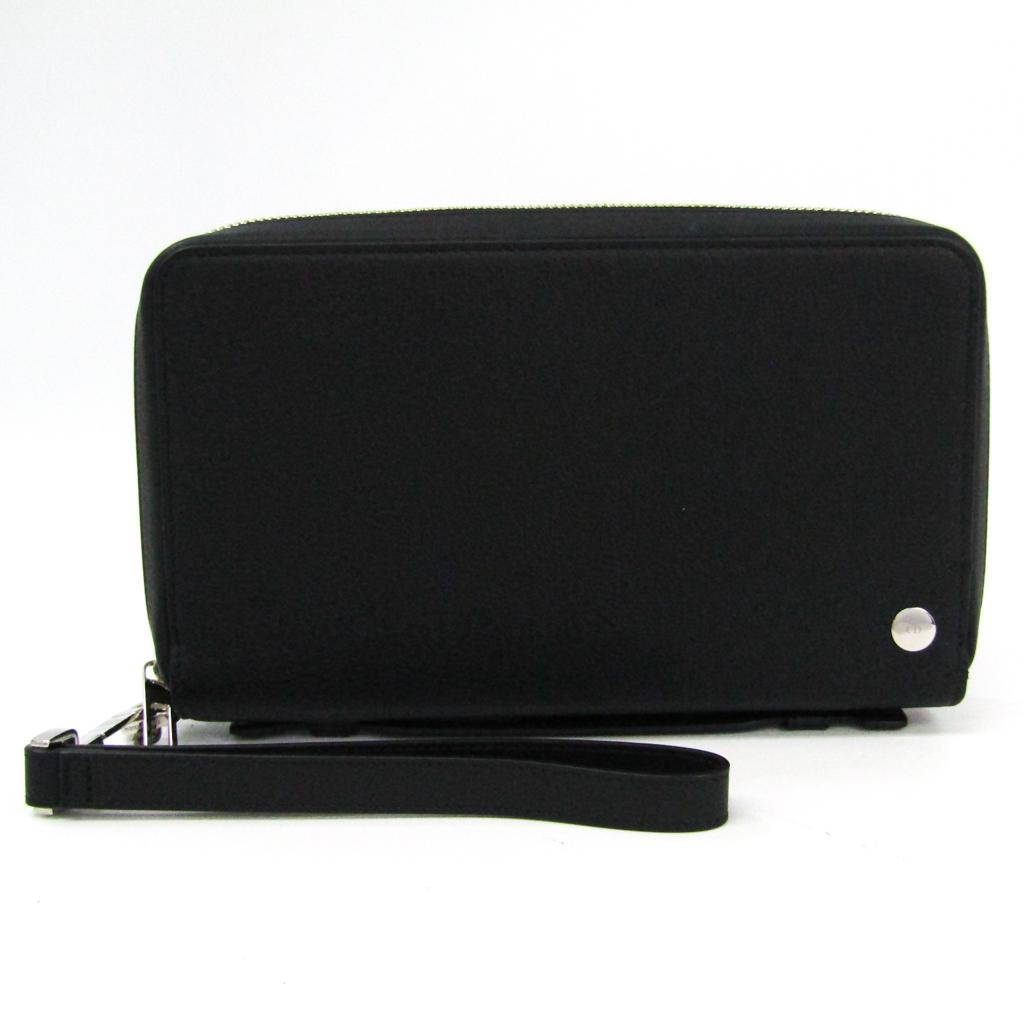 ディオール・オム(Dior Homme) メンズ レザー 長財布(二つ折り) ブラック 【中古】