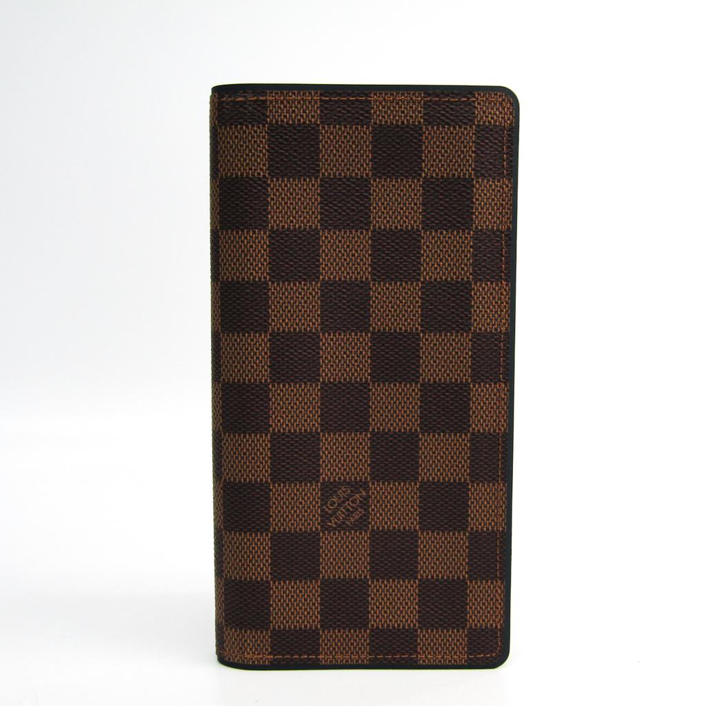 ルイ・ヴィトン(Louis Vuitton) ダミエ ポルトフォイユ・ブラザ N63168 メンズ ダミエキャンバス 長財布(二つ折り) エベヌ,ネイビー 【中古】