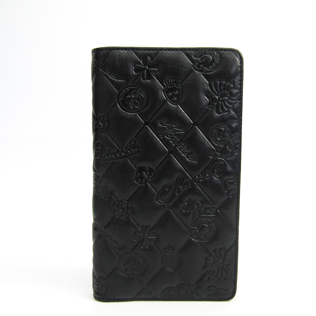 シャネル(Chanel) アイコン レザー 長財布(二つ折り) ブラック 【中古】