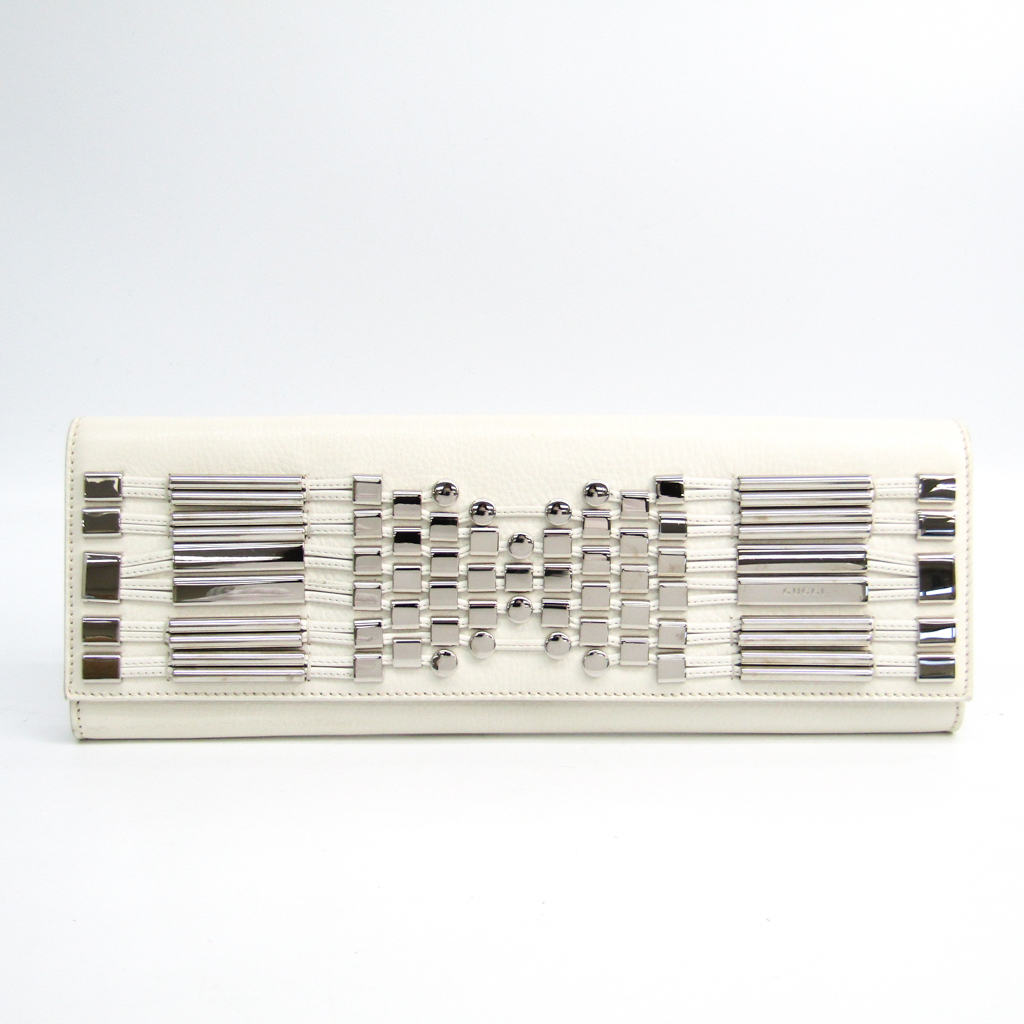 グッチ(Gucci) 240248 レディース レザー,メタル クラッチバッグ ホワイト,シルバー 【中古】