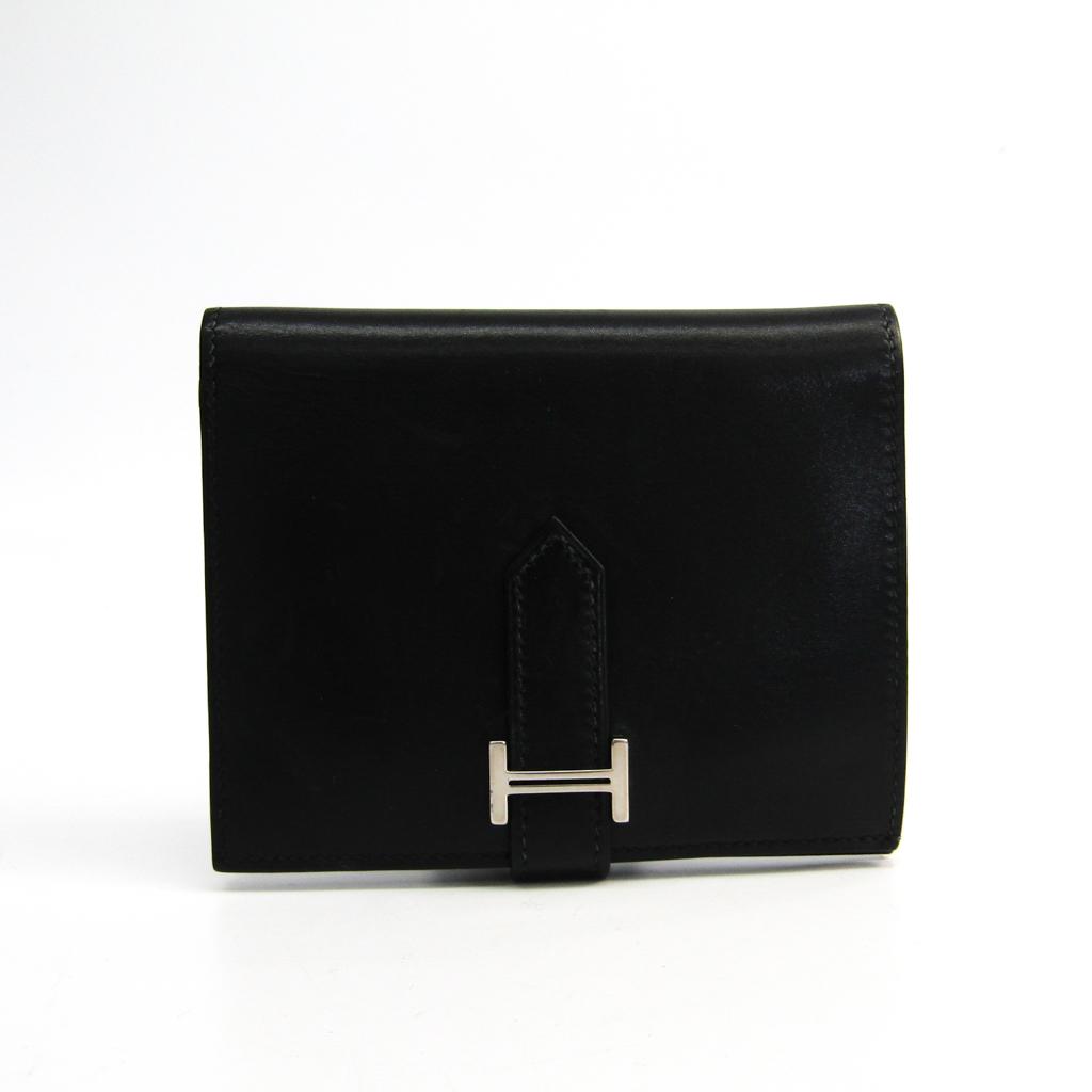 エルメス(Hermes) ベアン ボックスカーフ 財布(二つ折り) ブラック 【中古】