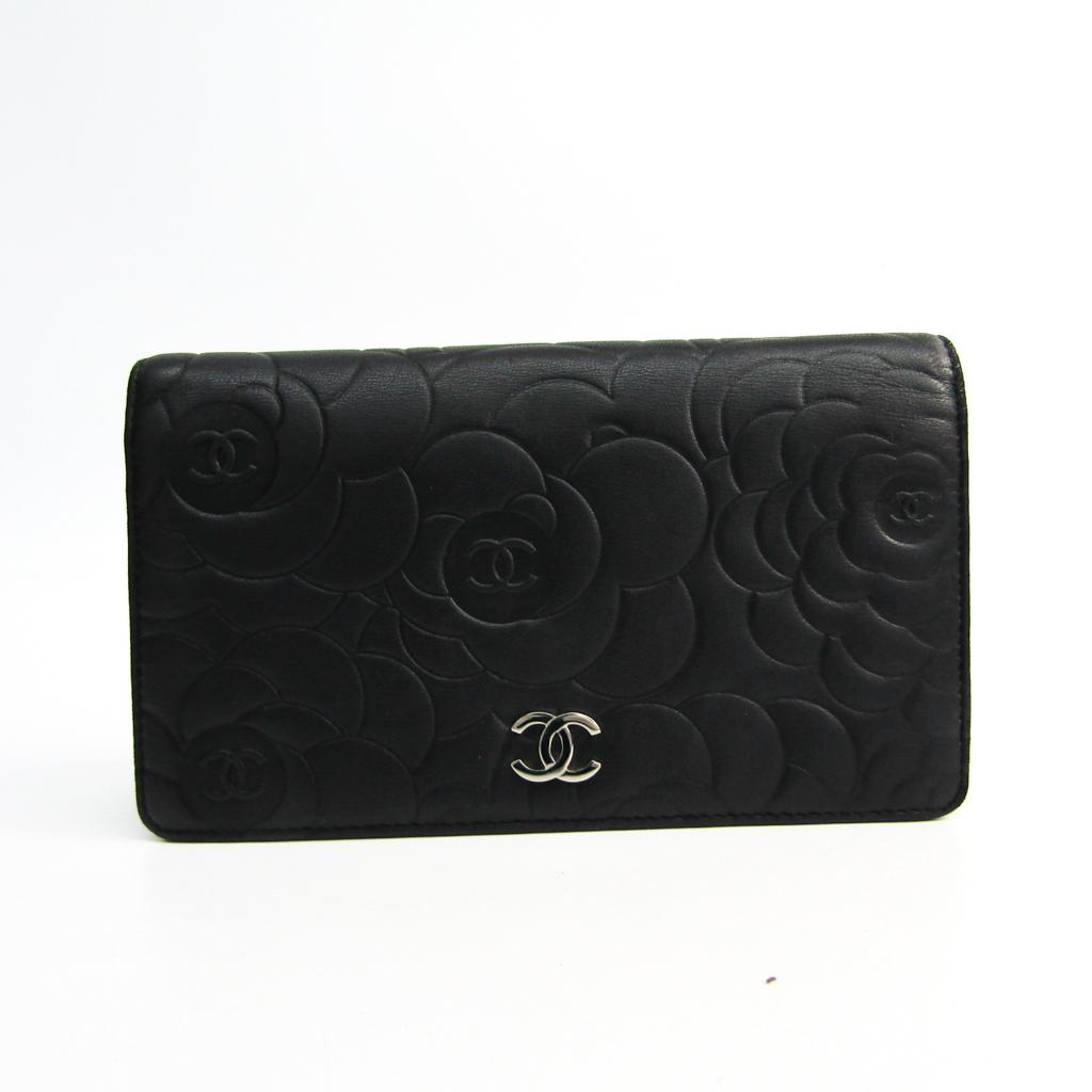 シャネル(Chanel) カメリア A36544 レディース ラムスキン 長財布(二つ折り) ブラック 【中古】