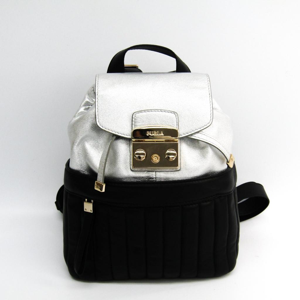 f398bf3aa47 Full lah (Furla) metropolis Lady's leather rucksack black, silver
