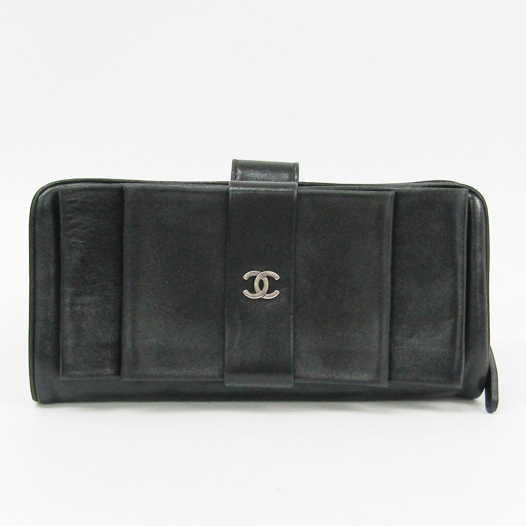 シャネル(Chanel) A69294 レディース レザー 長札入れ(二つ折り) ブラック 【中古】