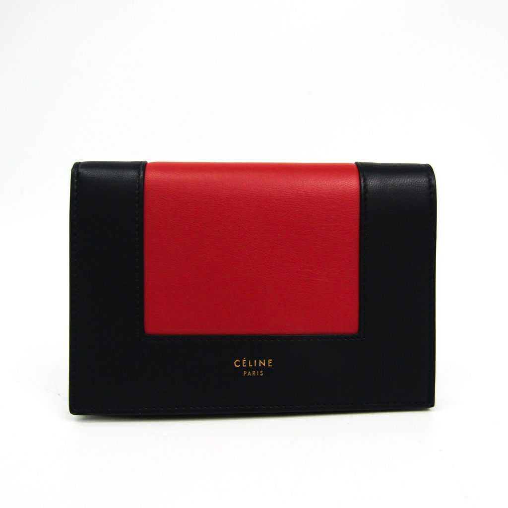 セリーヌ(Celine) 10A553A04 レディース レザー 財布(二つ折り) ブラック,ブラウン 【中古】