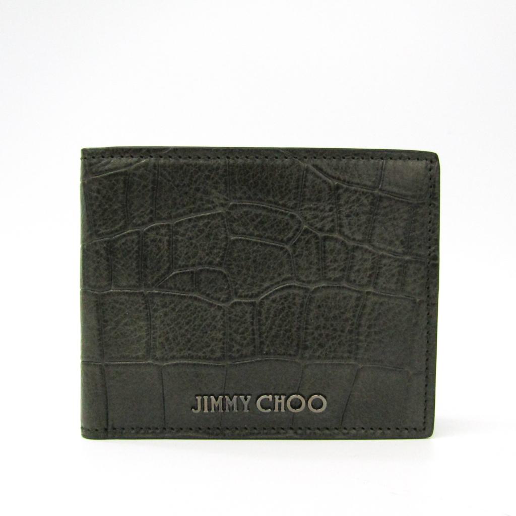 ジミー・チュウ(Jimmy Choo) MARK CCL J000051780001 メンズ 型押しレザー 札入れ(二つ折り) カーキ 【中古】
