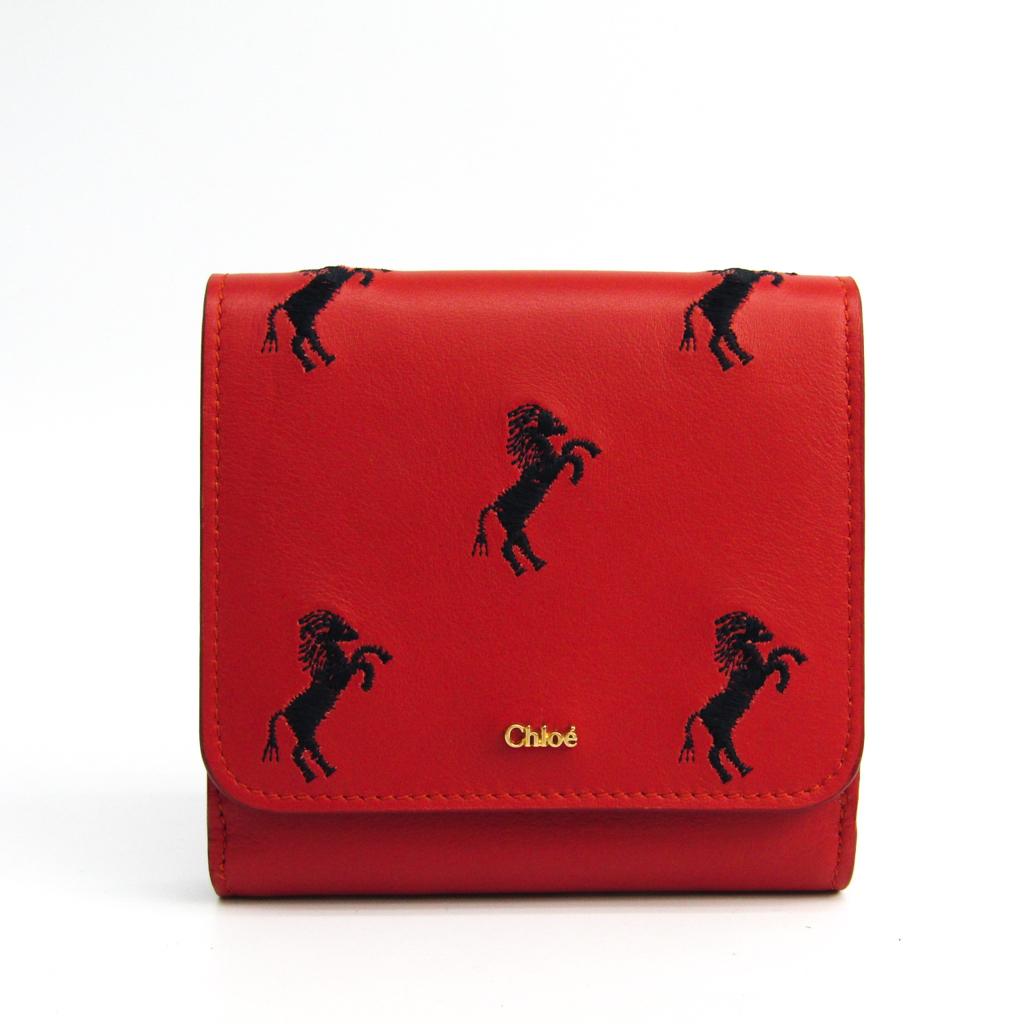 クロエ(Chloé) 馬刺繍 レディース レザー 財布(二つ折り) オレンジレッド 【中古】