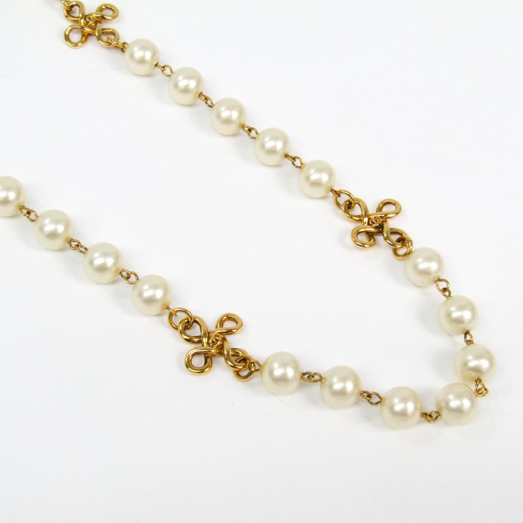 シャネル(Chanel) イミテーションパール,メタル レディース ネックレス (ゴールド,ホワイト) 【中古】