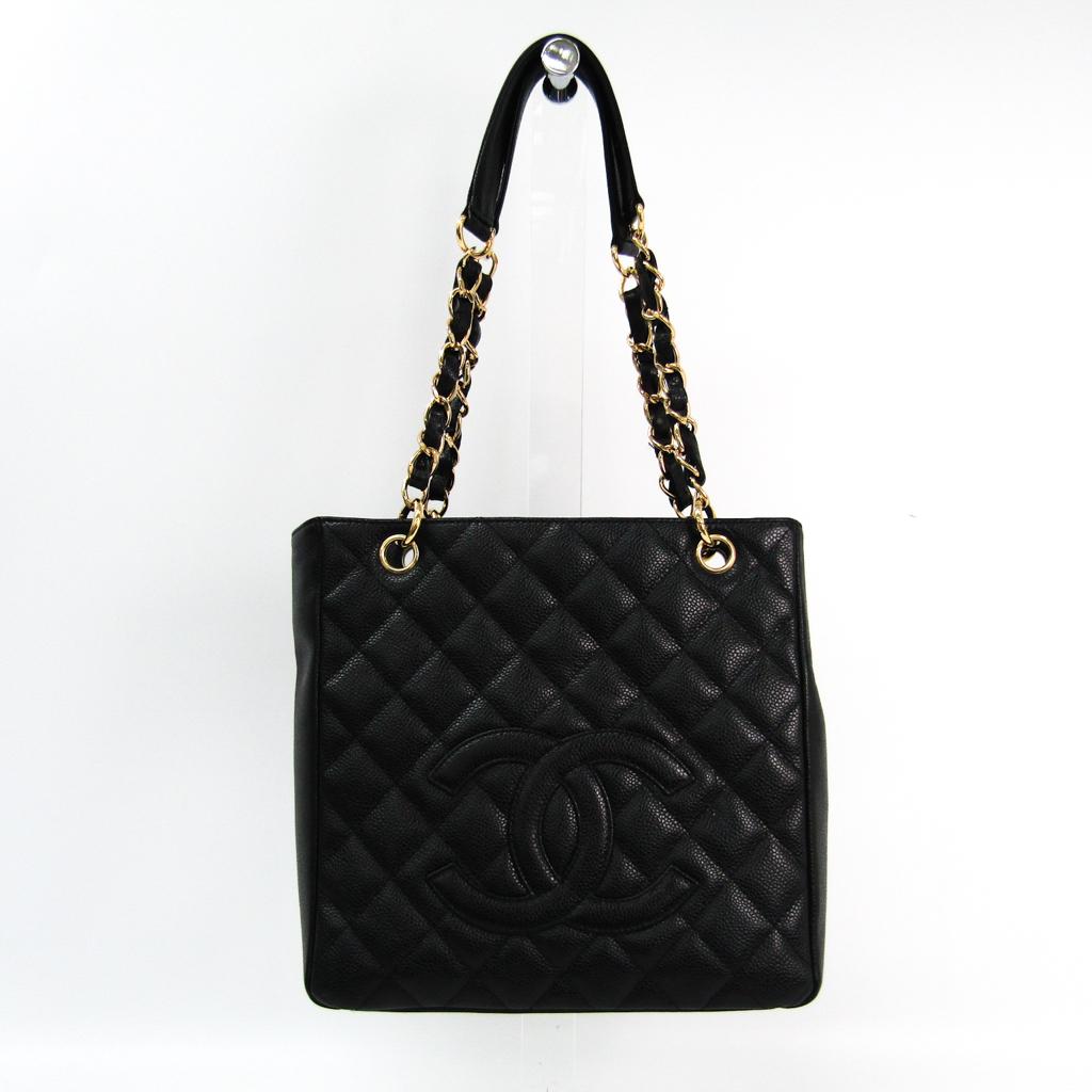 シャネル(Chanel) キャビア・スキン プチ ショッピング トート PST A20994 レディース キャビアスキン トートバッグ ブラック 【中古】