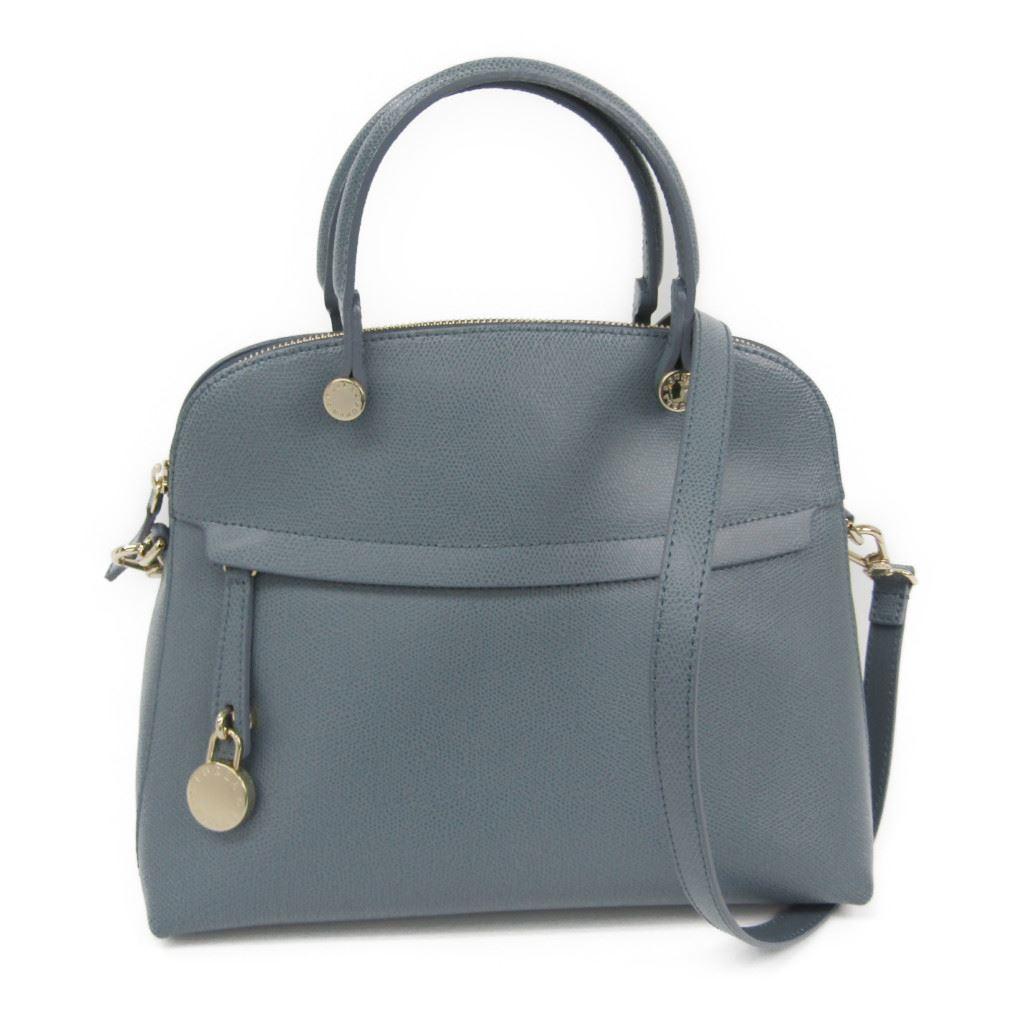 Full Lah Furla Piper M Lady S Leather Handbag Light Blue Gray