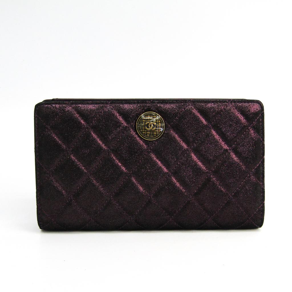 シャネル(Chanel) マトラッセ A68927 レディース サテン,レザー 長財布(二つ折り) メタリックパープル 【中古】