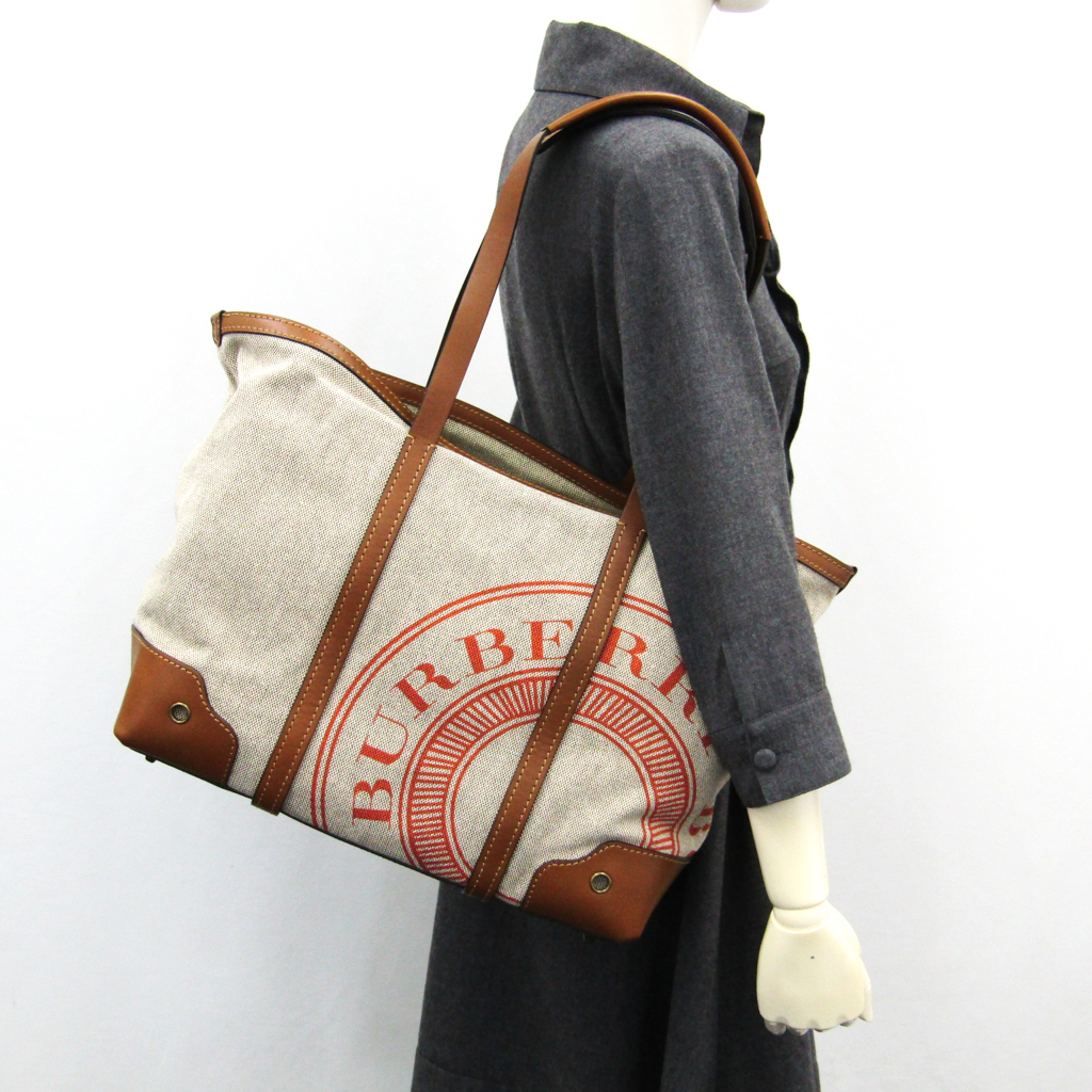 3fa15f2a8f0 ... Burberry (Burberry) 3801086 Lady's canvas, leather tote bag gray, brown  ...