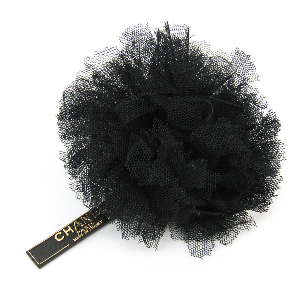 シャネル(Chanel) チュール テキスタイル コサージュ ブラック 【中古】