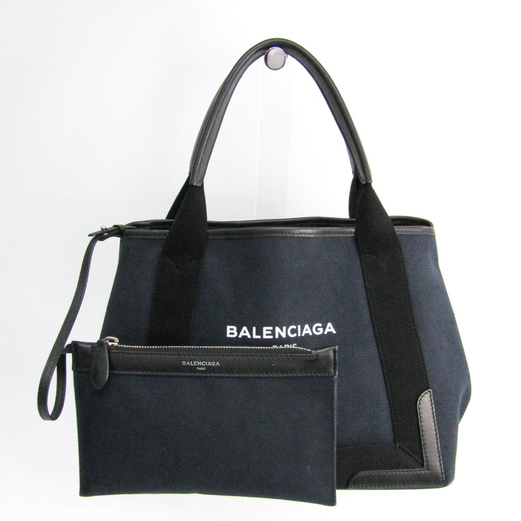 バレンシアガ(Balenciaga) ネイビーカバスS 339933 レディース キャンバス,レザー ハンドバッグ ブラック,ネイビー 【中古】