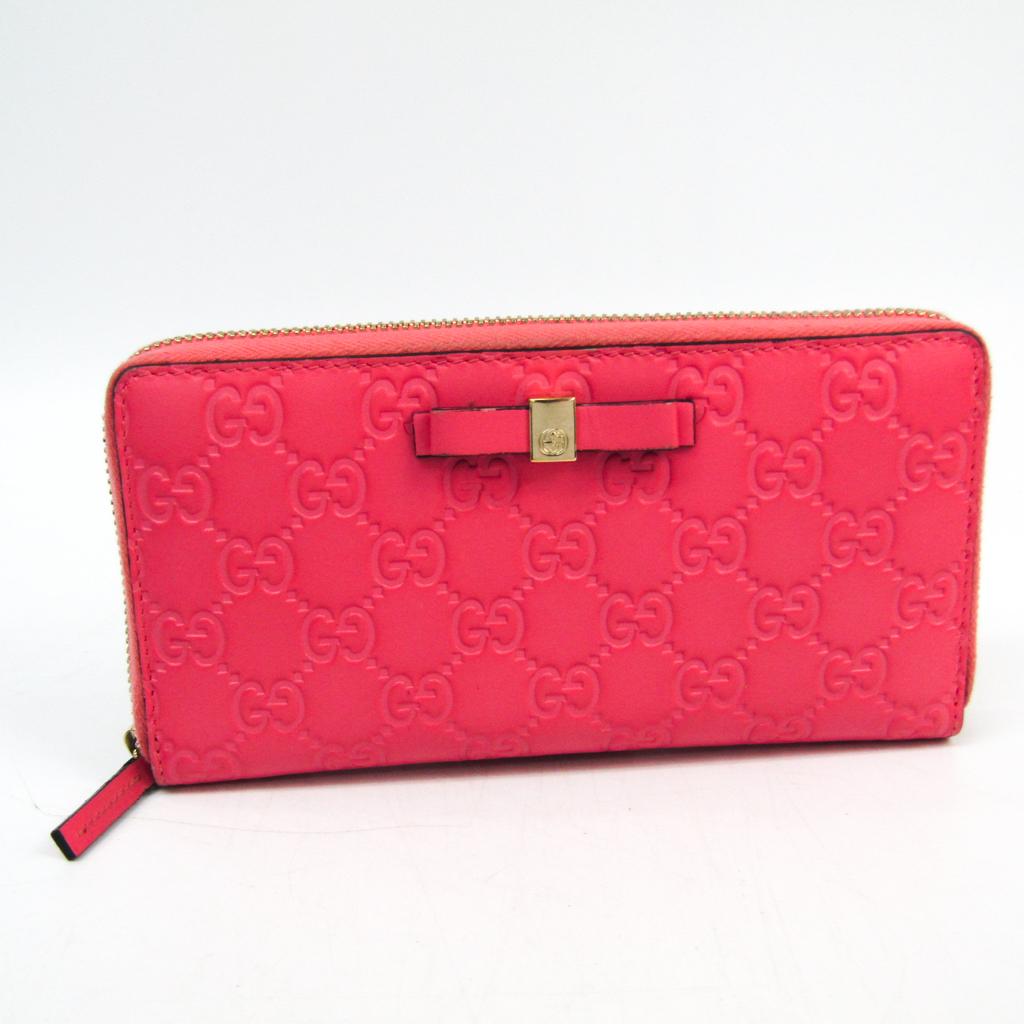グッチ(Gucci) グッチッシマ リボン 388680 レディース レザー 長財布(二つ折り) ライトピンク 【中古】