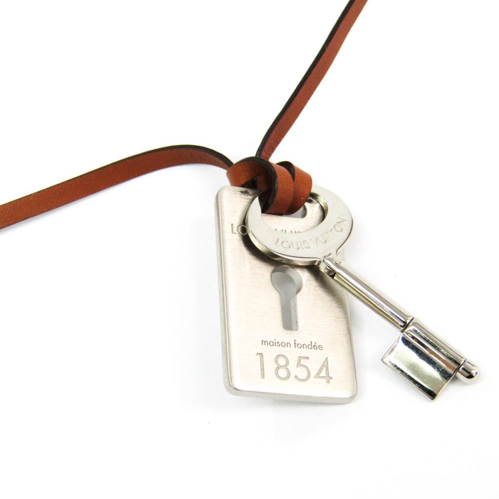 ルイ・ヴィトン(Louis Vuitton) レザ??,メタル ユニセックス ネックレス (ブラウン,シルバー) トラベルキー M68095 【中古】