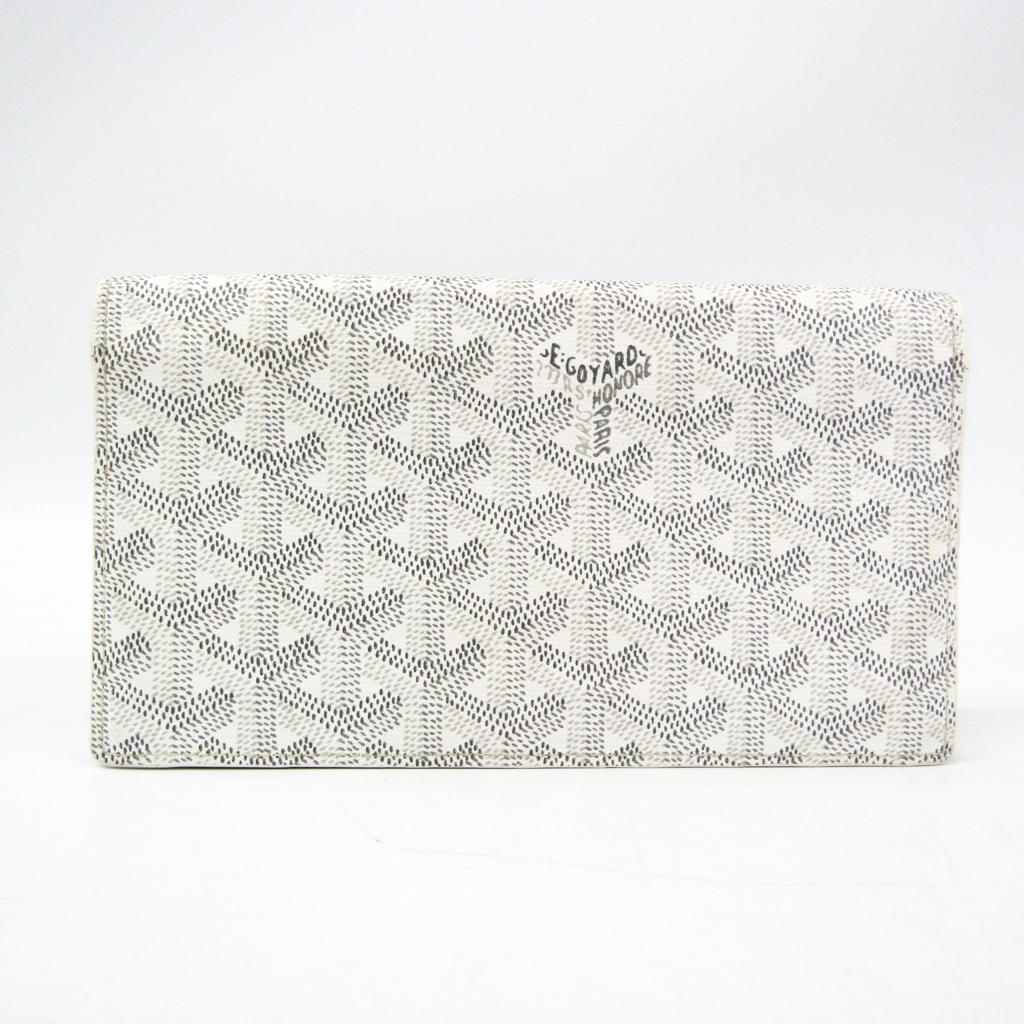ゴヤール(Goyard) リシュリュー レザー,コーティングキャンバス 長財布(二つ折り) グレー,ホワイト 【中古】