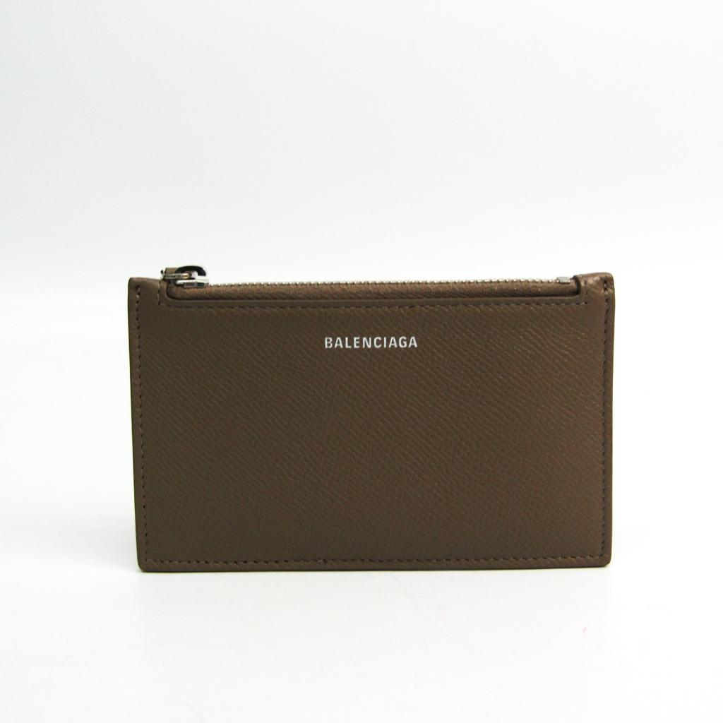 バレンシアガ(Balenciaga) VILLE LONG CARD HAND WRITTEN SIGNATURE コインケース 581102 レザー カードケース グレーベージュ 【中古】