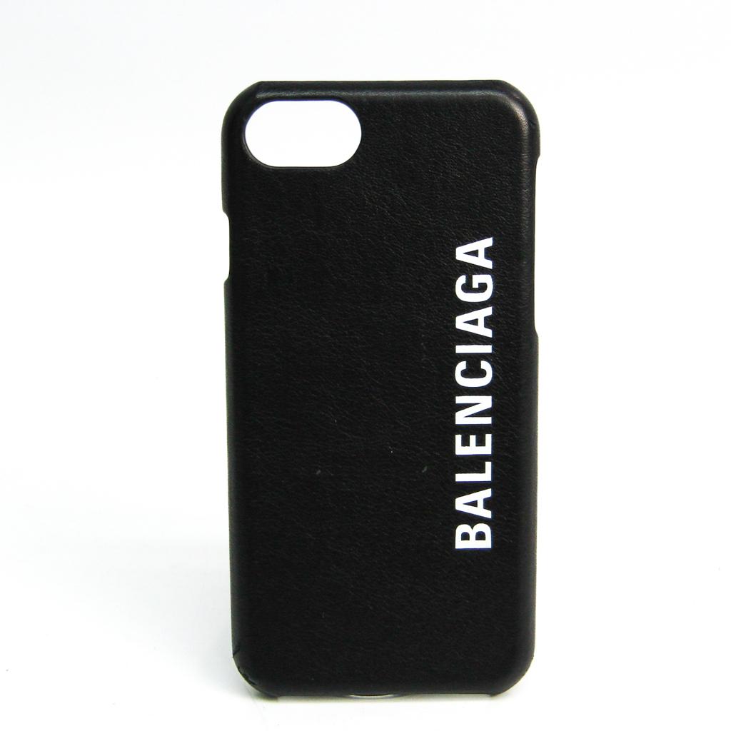バレンシアガ(Balenciaga) ロゴ iPhone 8 ケース 585980 レザースマホ・携帯ケース iPhone 8 対応 ブラック,ホワイト 【中古】