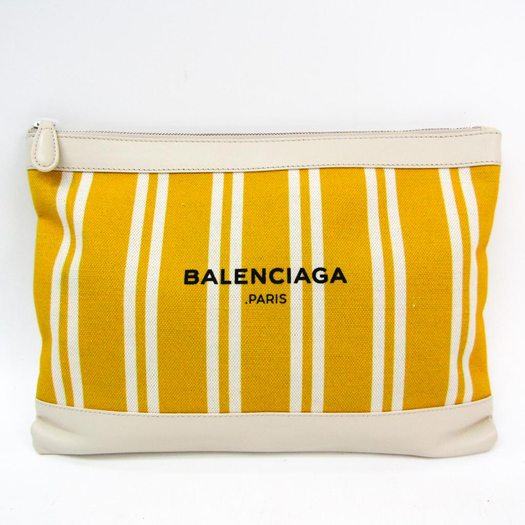 バレンシアガ(Balenciaga) ネイビークリップ M 420407 ユニセックス レザー,キャンバス クラッチバッグ アイボリー,イエロー 【中古】