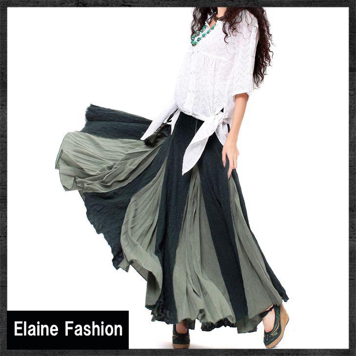 オリジナルデザイン エスニック系 ミャオ族スタイル 刺繍入りボリュームロング丈フレアスカート 全2色 フリー