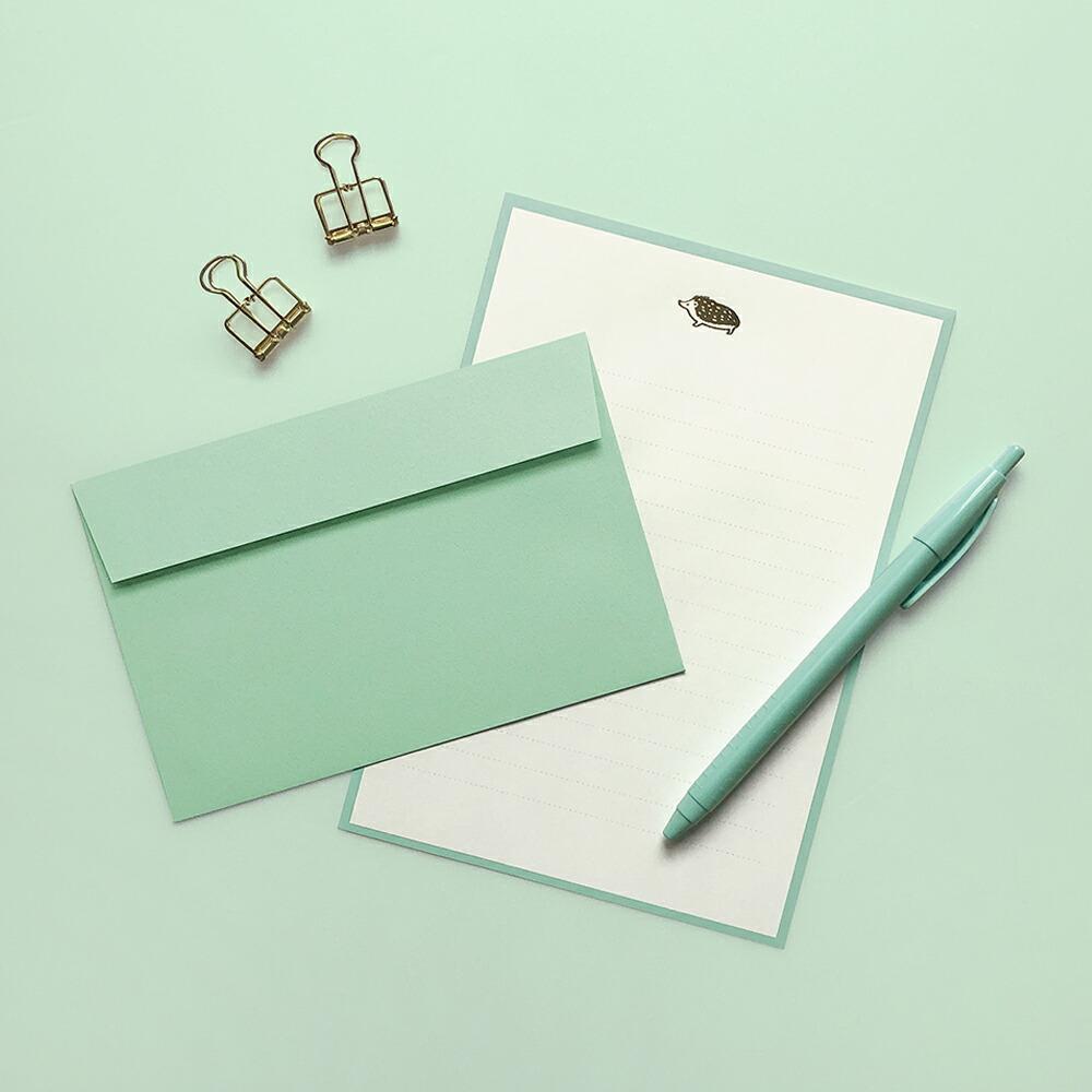 便箋のふちどりと封筒の色を揃えたシンプルなレターセット Lucia 推奨 ルチア レターセット メール便対応 便箋 定形内 封筒 手紙 新作続