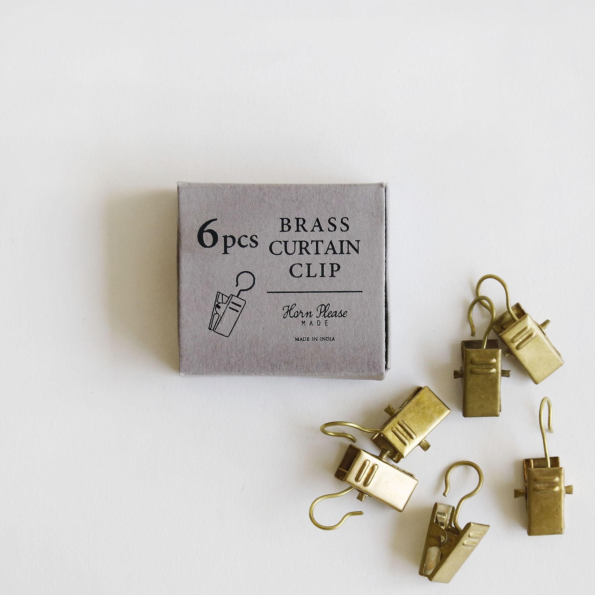 真鍮カーテンクリップ 6個セット BRASS ブラス クリップランナー 実物 DIY アンティーク風 什器 登場大人気アイテム ディスプレイ Horn シンプル Please インテリア 撮影