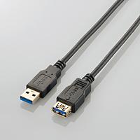 USB3.0 Aタイプ:オス の長さが足りないときに 延長してパソコンと接続できるUSB3.0延長ケーブル ELECOM エレコム ブラック USB延長ケーブル USB3-E10BK 税込 1m AL完売しました。 A-A