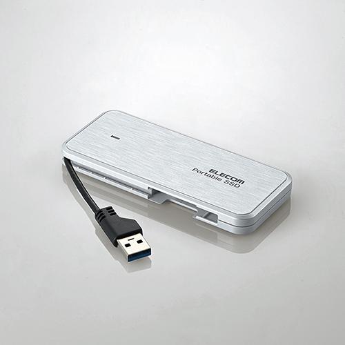 エレコム ケーブル収納型 外付け ポータブル SSD 設定マニュアル付 外付けSSD USB3.2 (Gen1)対応 240GB データ復旧サービスLite付 ホワイト ESD-EC0240GWHR