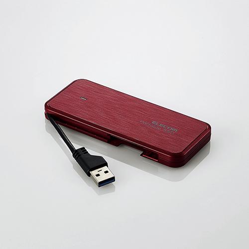 エレコム ケーブル収納型 外付け ポータブル SSD PlayStation4 PS4 用 設定マニュアル付 外付けSSD USB3.2 (Gen1)対応 960GB データ復旧サービスLite付 レッド ESD-EC0960GRDR