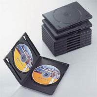 軽くて割れにくいポリプロピレン樹脂製トールケース2枚収納タイプ。分類に便利な背ラベルアイコンシール付き ELECOM エレコム ディスクケース DVD CD 対応 DVDケース CDケース 2枚収納 10枚セット ブラック CCD-DVD06BK