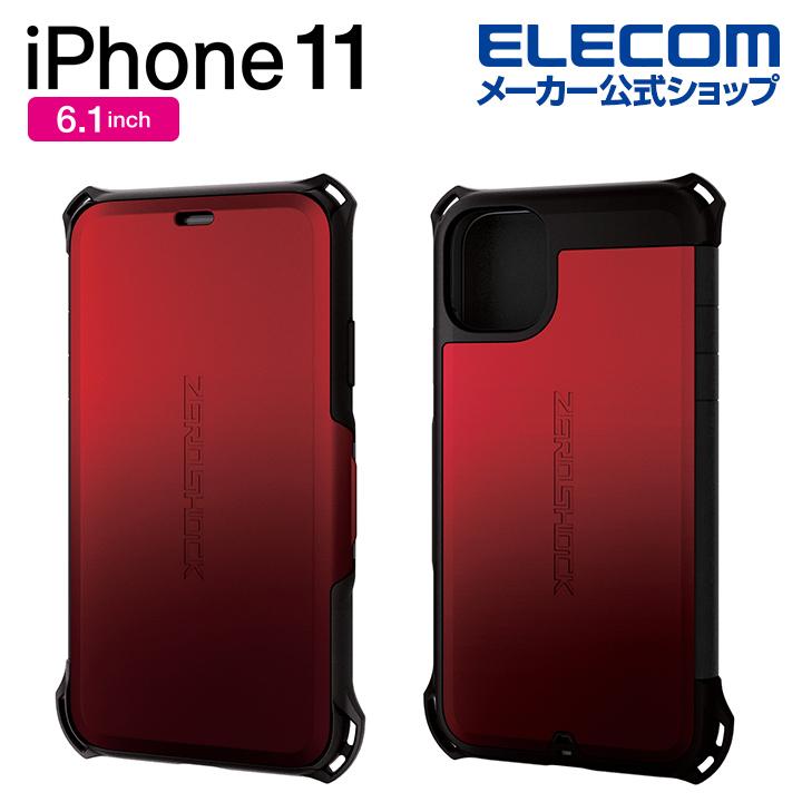 エレコム iPhone 11 用 ZEROSHOCK シールド ケース カバー iphone6.1 iPhone11 アイフォン 11 新型 iPhone2019 6.1インチ 6.1 スマホケース ゼロショック シンプル 耐衝撃 フラップ シールドタイプ レッド PM-A19CZEROSRD