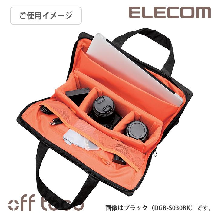 エレコム カメラバッグ off toco オフトコ 一眼レフ/ミラーレスカメラ用 トートバッグ ショルダーベルト付属 全面撥水加工 ネイビー 13.3インチノートPC収納可 DGB-S030NV
