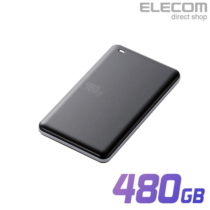 エレコム 外付けポータブルSSD 耐衝撃 USB3.1 Gen1対応 高速 超軽量 480GB ブラック ESD-ED0480GBK