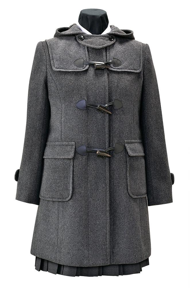 【取り寄せ商品】日本製 女児用 軽量 パネルラインダッフルコート スクールコート 紺・グレー