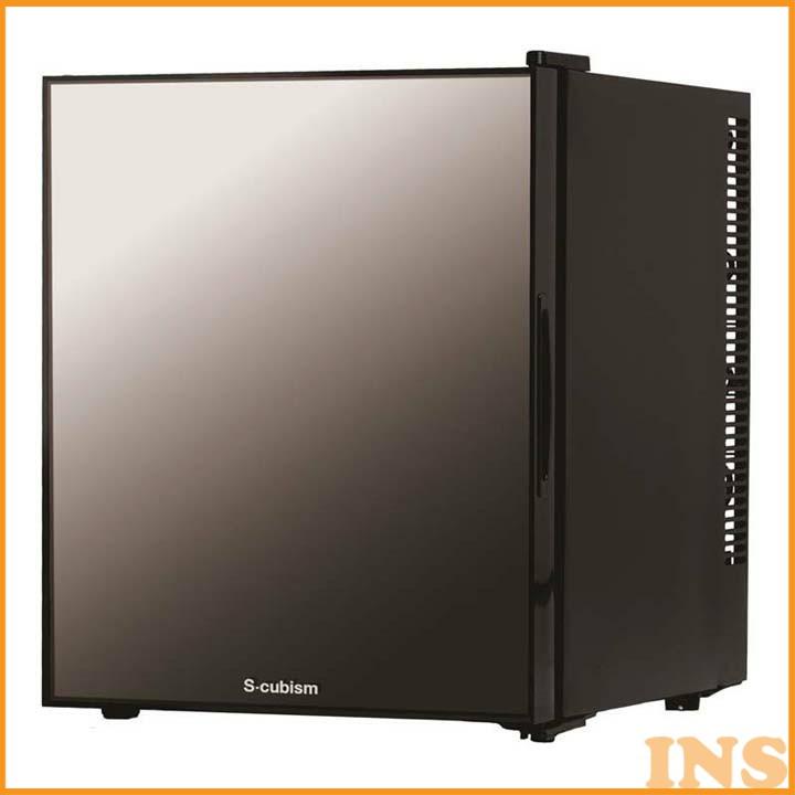 冷蔵庫 小型 おしゃれ 1ドア冷蔵庫 32L ミラーガラスドア ブラック WRH-M132 送料無料 冷蔵庫 調理 寝室 キッチン家電 一人暮らし ドア付替え方式 単身 S-cubism 【D】