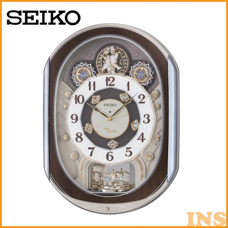 電波からくり時計 RE578B 送料無料 SEIKO 掛け時計 壁掛け からくり時計 電波時計 アナログ スイープ メロディ 音量調節 セイコークロック 【TC】