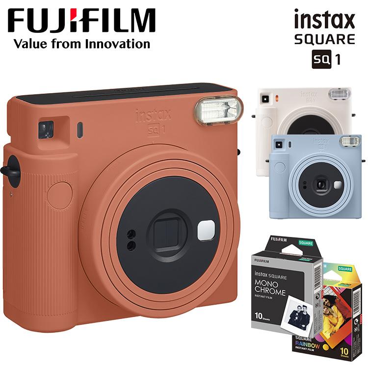 FUJIFILM 富士フイルム インスタント ポラロイド チェキ カメラ 店内全品対象 専用フィルム RAINBOW セット 本体 チェキスクエア フィルム instax SQUARE おしゃれ シンプル 送料無料 D 10枚入り インスタントカメラ SQ1 最新 電池
