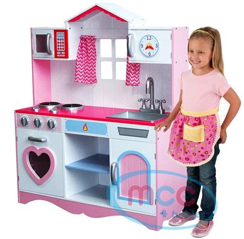 送料無料 新品 ロールプレイング キッチンセット ピンク 大サイズ 女の子 子供 台所 おもちゃ 玩具 木製 遊び場 おままごと 料理
