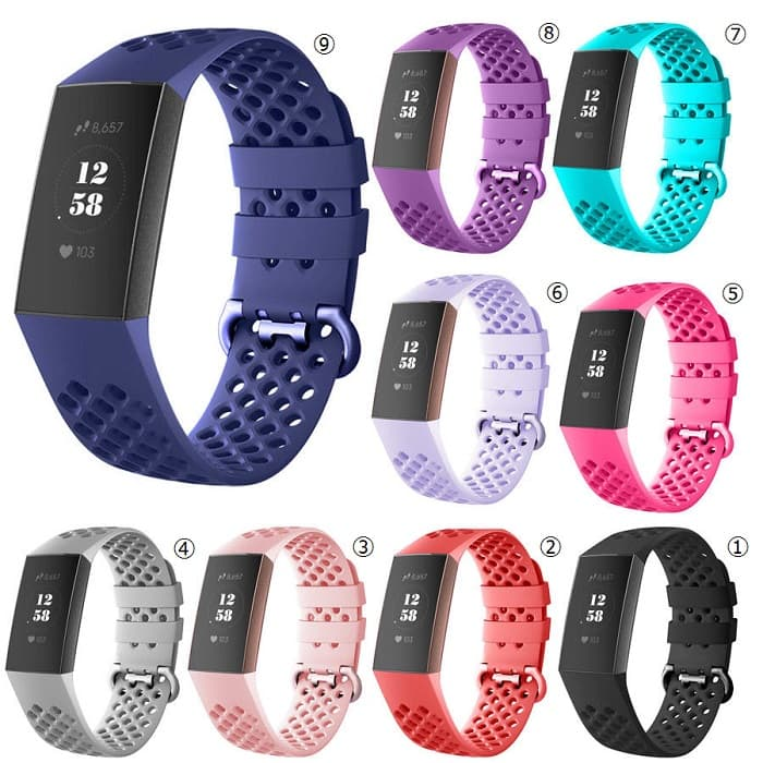 fitbit フィットビット 交換用バンド 送料無料 格安激安 新品 税込 Fitbit Charge3 4 シリコン セールSALE%OFF Charge Replacement 通気穴 Style-2 Band OEM製品 交換バンド 百 3 チャージ