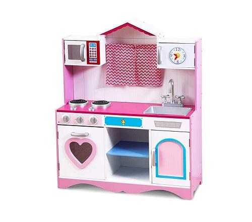 ロールプレイング キッチンセット ピンク 大サイズ 女の子 子供 台所 おもちゃ 玩具 木製 遊び場 おままごと 料理 新品 送料無料